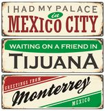 Vintage metal signs collection with Mexico cities Royalty Free Stock Photo