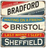 Vintage metal signs collection with UK cities Stock Images