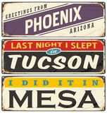Vintage metal signs collection with USA cities Royalty Free Stock Photography