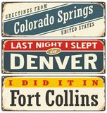 Vintage metal signs collection with USA cities Royalty Free Stock Photos
