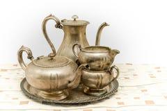 Vintage metal tea set Stock Photography