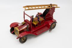 Vintage metal toy fire truck from the 1930s royalty free stock photography