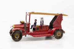 Vintage metal toy fire truck from the 1930s stock photography