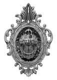 Vintage frame with demon teeth on white background. Vintage metalic frame with demon teeth royalty free illustration