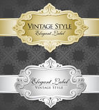 Vintage metalic labels. Two metallic vintage labels of gold and silver Royalty Free Stock Photos