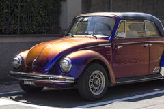 Vintage metalized cabriolet Beetle in Tuscany, Italy Royalty Free Stock Photo