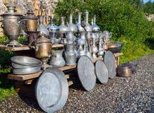 Vintage metallic arabian vessels and pods stock photo