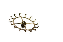 Vintage Metallic Escape Wheel for Cylinder Escapement on White Background Stock Photos