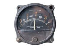 Vintage meter cylinder temperature. Vintage laboratory meter, labeled cylinder temperature.  Worn and aged Stock Image