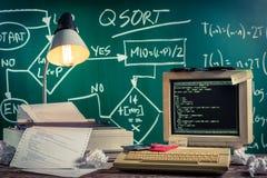 Vintage methods of programming at school Royalty Free Stock Photos
