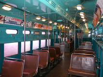 Vintage metro car at the Smithsonian. Museum. All green finish and advertisements from the fifties. Photo taken in June 2011 Stock Photography