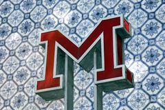 Vintage Metro sign in Lisbon Stock Photo