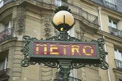 Vintage Metro Sign, Paris, France Stock Images
