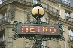 Vintage Metro Sign, Paris, France Stock Images