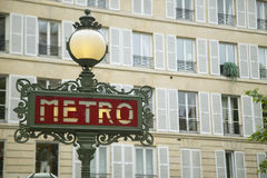 Vintage Metro Sign, Paris, France Stock Image