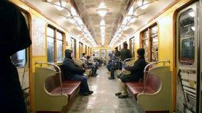Vintage metro wagon in Kiev subway,. KIEV-JAN 21: Vintage metro wagon on January 21,2014 in Kiev,Ukraine. Kyiv city metro system has 52 stations and total length stock video footage