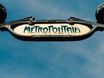Vintage Metropolitan or metro sign metro in Paris France.  stock photos