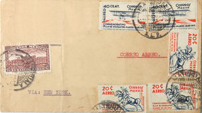 Vintage Mexican envelope of 1938 Royalty Free Stock Photography