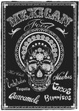Vintage Mexican Food Poster. Skull Muerto. Vector Stock Image