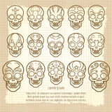 Vintage mexican skull set poster Stock Photography