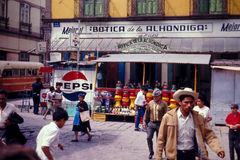 Vintage Mexican Village Street scene from 1960's Stock Image