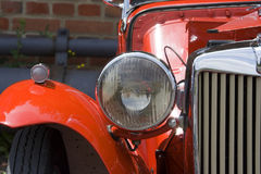 Vintage MG. Closeup of Headlight - Wing and Grille Stock Photos