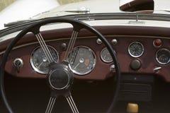 Vintage MG. British Car - Dashboard and Wheel Closeup Stock Photography