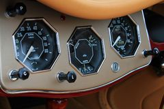 Vintage MG cockpit close up instrument cluster Stock Image
