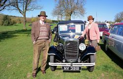 Vintage MG Rover car rally. Vintage car and owners at MG and Rover car rally. Location Longbridge,England 18th April 2015. Annual rally held when MG Rover went Stock Images
