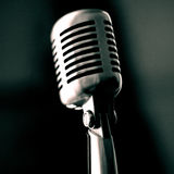 Vintage Microphone. Black and white image Royalty Free Stock Photo