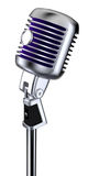 Vintage Microphone. Classic microphone on white background with clipping path Stock Photos