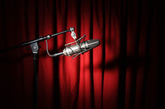 Vintage Microphone and Curtain Royalty Free Stock Image
