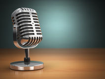 Vintage microphone on green background. Retro style. stock illustration