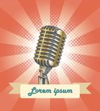 Vintage microphone hand drawing with banner. Clip art for music card Royalty Free Stock Image