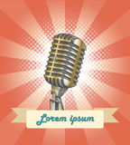 Vintage microphone hand drawing with banner. For make music card Stock Images