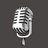 Vintage microphone hand drawn engraving vector Royalty Free Stock Photos