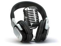 Vintage microphone and headphones. Concept audio and studio recording stock illustration