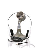 Vintage microphone and headphones royalty free stock photos