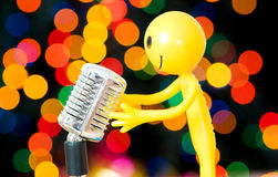 Vintage microphone isolated Stock Photos