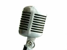 Vintage Microphone Isolated. The retro Shure Elvis Mic from the 50's Royalty Free Stock Image