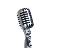 Vintage microphone isolated. On white stock photos
