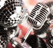 Vintage microphone and Music background Stock Images
