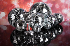Vintage microphone and Music background Royalty Free Stock Images