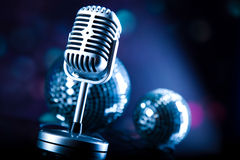 Vintage microphone, music saturated concept Royalty Free Stock Photography