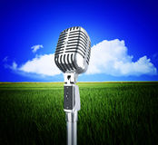 Vintage microphone and nature stock images