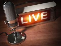 Vintage microphone with signboard live. Broadcasting radio station concept. stock illustration