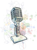Vintage Microphone sketch & floral ornament Stock Photos