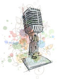 Vintage Microphone sketch & floral ornament Royalty Free Stock Image