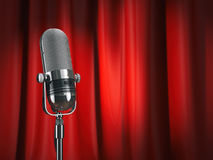 Vintage microphone on stage with red curtain. Music concept. vector illustration