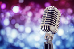Vintage microphone on stage royalty free stock photo